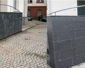 Natursteinsanierung einer Steinmauer aus Schiefer
